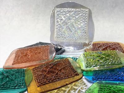 Vinder Art Glass Pressed Jewel Shown in Assorted Colors