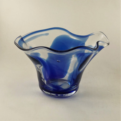 Small Specialty Floppy Bowl - Clear with Blue Swirl