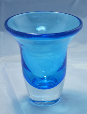 Bell Vase - Blue and Clear