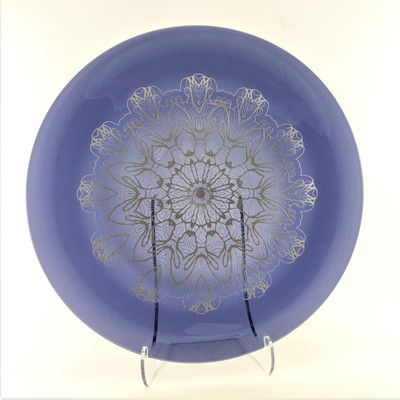 """Mandala Etched and Paint Filled 12"""" Rondel in 855 Dark Violet"""