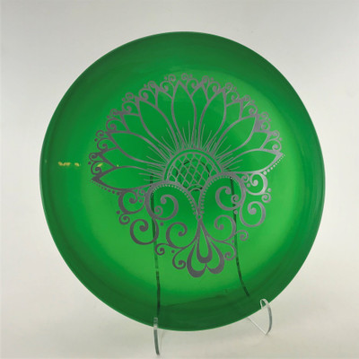 """Simple Mandala Etched and Paint Filled 11"""" Rondel in 662 Lighter Green"""