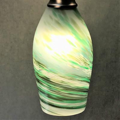 Pendant Light - Frit Swirl - White with Green (shown lit)