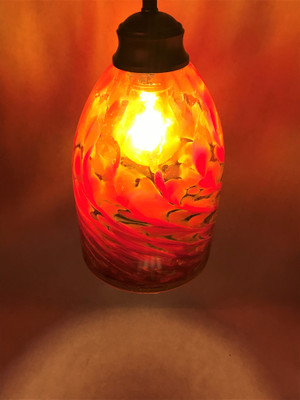 Pendant Light - Frit Swirl - Amber with Red (shown lit with 'warm' light)