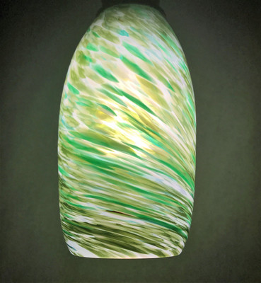 Pendant Light - Frit Swirl - White with Green (lit from within)