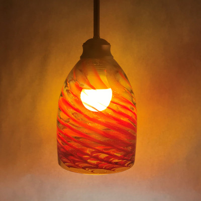 Pendant Light - Frit Swirl - Amber with Red