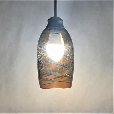 Pendant Light - Frit Swirl - Amber with Blue