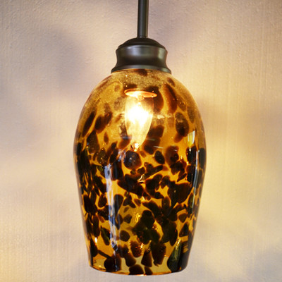 Pendant Light - Frit Speckle - Amber with Brown