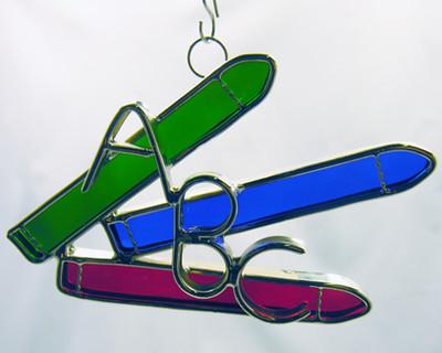 Red, blue, green ABC crayons art glass suncatcher