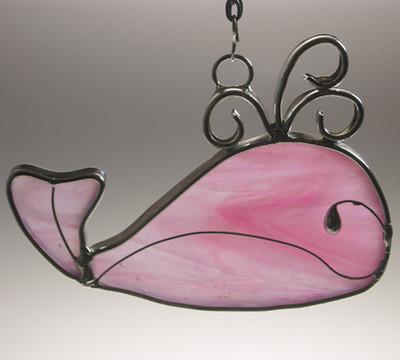 Baby girl pink whale suncatcher