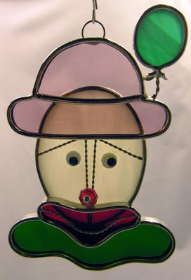 Clown Face art glass suncatcher