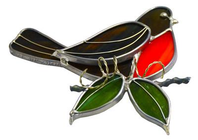 Robin Perched on Branch art glass suncatcher