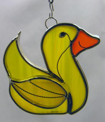 Rubber Ducky art glass suncatcher
