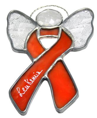 Angel Wings Leukemia Cancer Awareness Ribbon Suncatcher