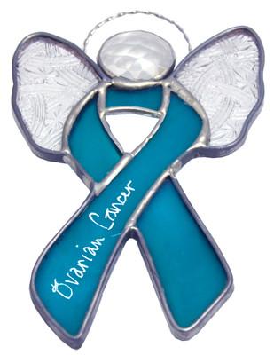 Angel Wings Ovarian Cancer Awareness Ribbon Suncatcher