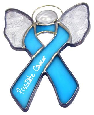 Angel Wings Prostate Cancer Awareness Ribbon Suncatcher
