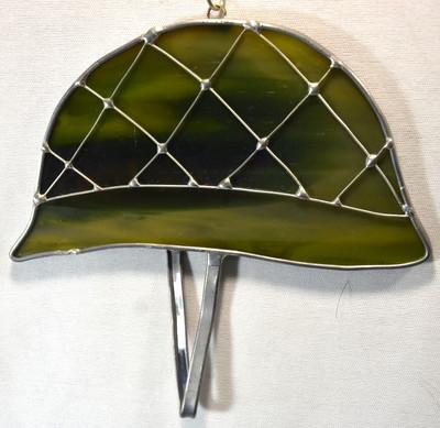 Army Helmet art glass suncatcher