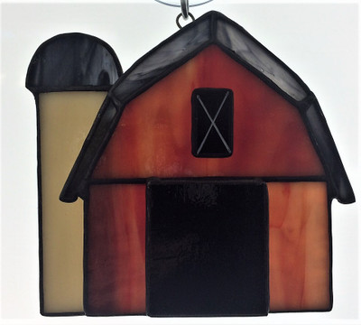 Barn with Silo art glass suncatcher in red, tan, and black