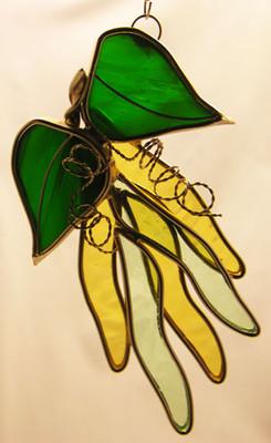 Beans on Vine art glass suncatcher in yellow and green