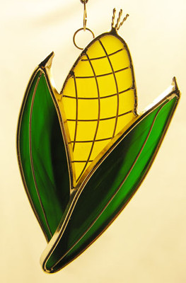 Yellow and green corn art glass suncatcher