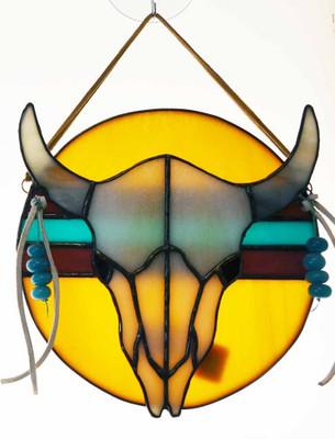 Longhorn Skull Suncatcher in Yellow, White, and Turquoise