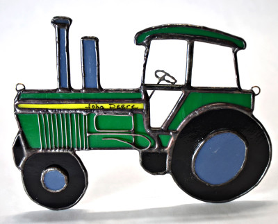 Tractor art glass suncatcher in green and yellow