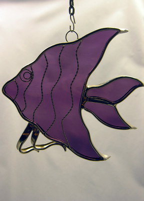 Angelfish art glass suncatcher in purple