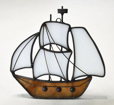 Four Sail Clipper Ship Art Glass Suncatcher in Brown and White
