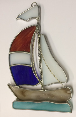 Patriotic Large Sailboat Suncatcher in Red, White, Blue, and Brown