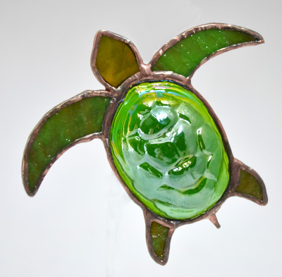 Sea Turtle art glass suncatcher in green