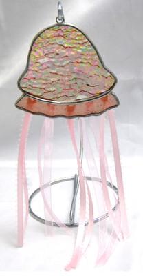 Jellyfish art glass suncatcher in pink