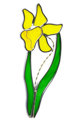 Daffodil art glass suncatcher, yellow flower with green leaves