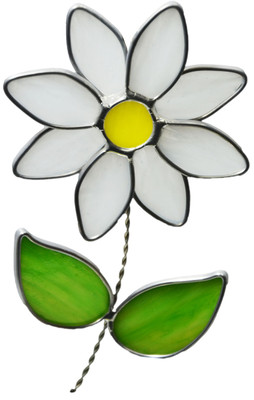 Daisy art glass suncatcher, white and yellow flower with green leaves