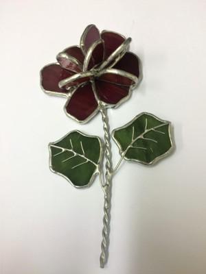 Red 3-D geranium with green leaves art glass suncatcher