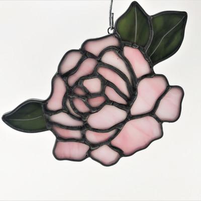 Intricate Peony Suncatcher, Pink Flower witih Green Leaves