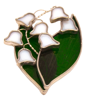 Lily of the Valley art glass suncatcher with white flowers and green leaves
