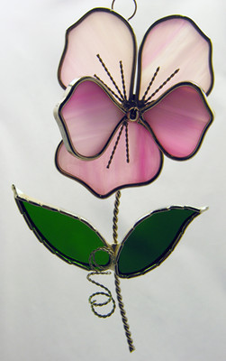 Pink pansy with green leaves art glass suncatcher