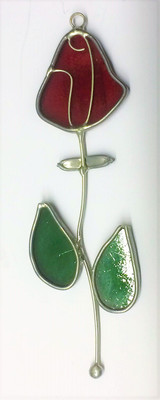 Red rose with green leaves art glass suncatcher