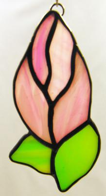 Pink rosebud art glass suncatcher with green leaves