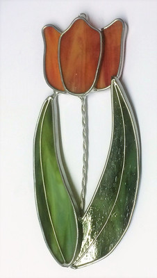 Orange single tulip art glass suncatcher with green leaves
