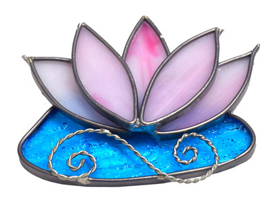 Water Lily art glass suncatcher in pink and blue