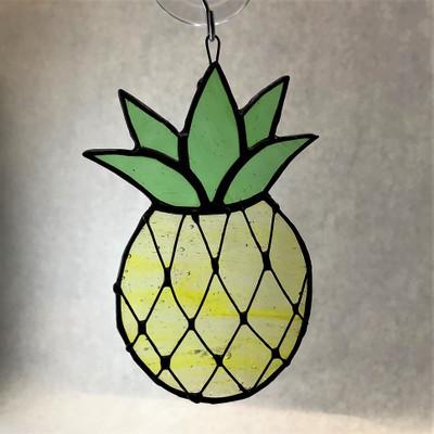Pineapple Art Glass Suncatcher in Yellow and Green