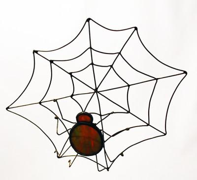 Red spider with web art glass suncatcher