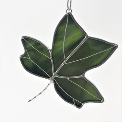 Tulip Tree (Yellow-Poplar) Leaf Art Glass Suncatcher in Green