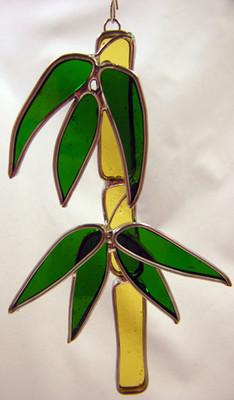 Bamboo art glass suncatcher in amber and green