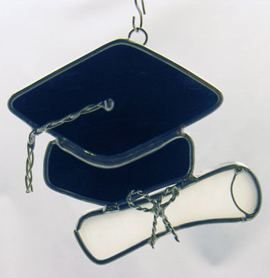 Large graduation cap & scroll art glass suncatcher in black and white