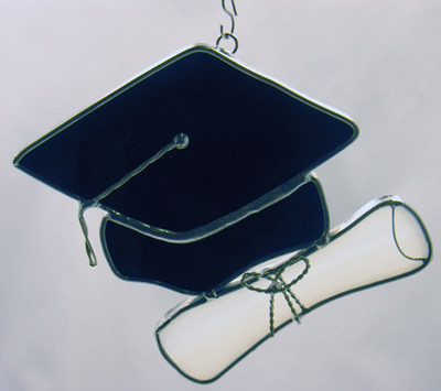 Small graduation cap & scroll art glass suncatcher in black and white