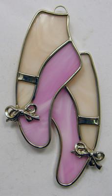 Ballet Slippers on Feet art glass suncatcher in pink and flesh tones