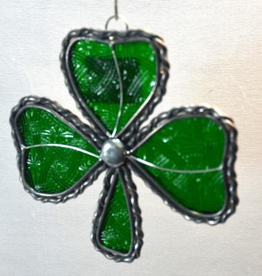 Large Shamrock art glass suncatcher, green with celtic texture