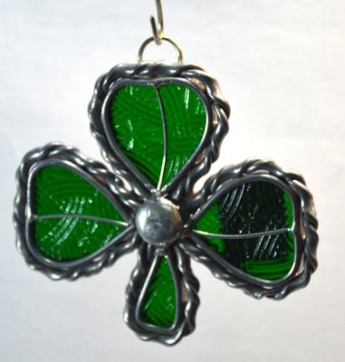 Small Shamrock art glass suncatcher in green with celtic texture