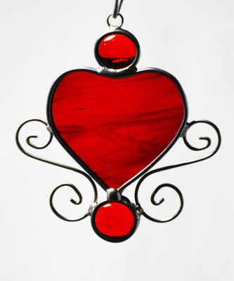 Charming Heart art glass suncatcher in red with wire scrollwork